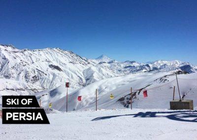 Vue sur le Mont Damavand depuis la station de ski de Dizin