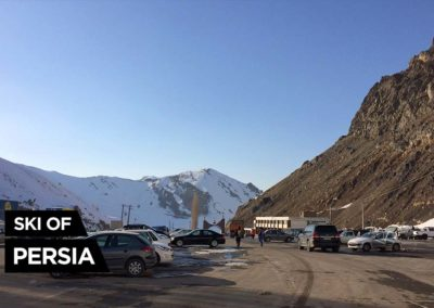 The parking of Dizin ski resort in Iran