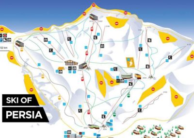 Trail map of Dizin ski resort in Iran