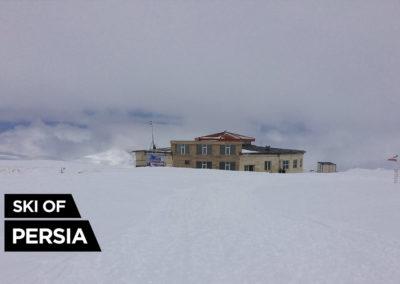 The main building of Sahand ski resort with restaurant and ski rental