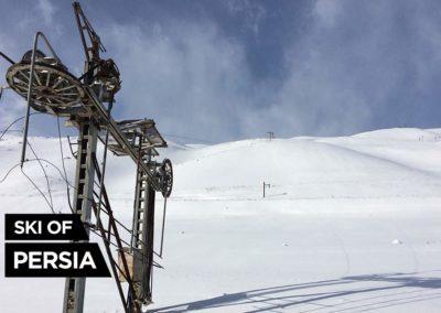 Broken ski-lift on Chelgerd ski resort in Iran