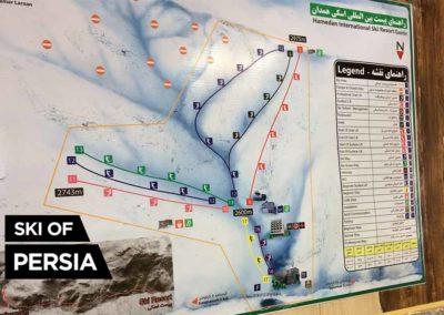 The trail map of Tarik Dareh ski resort in Iran
