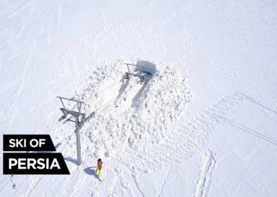 Image aérienne par drone de l'arrivée du téléski