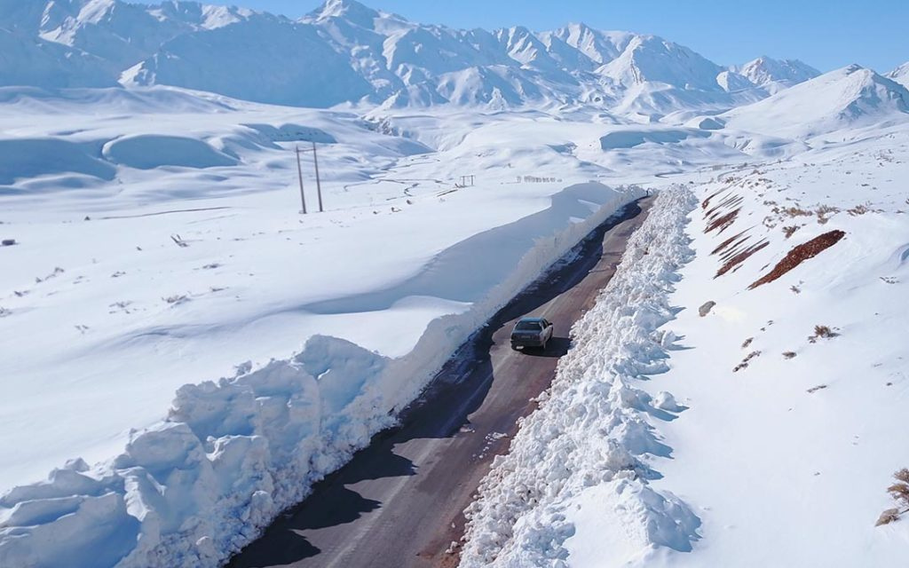 Road with snow near Chelgerd in Iran