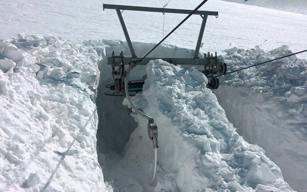 Drag lift under the snow in Iran