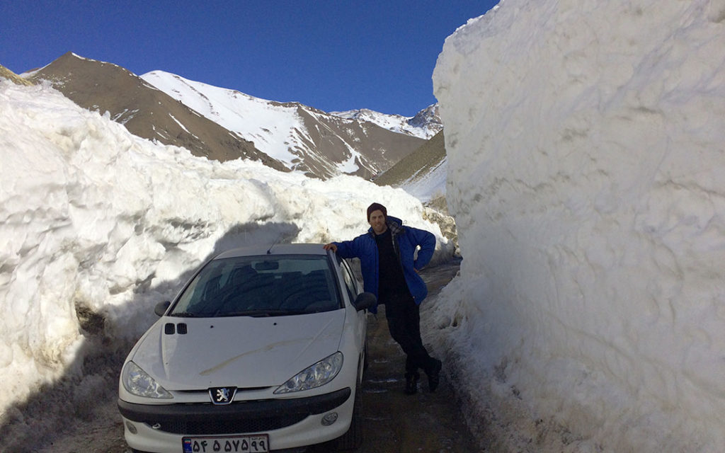 Snow wall near Dizin ski resort in Iran