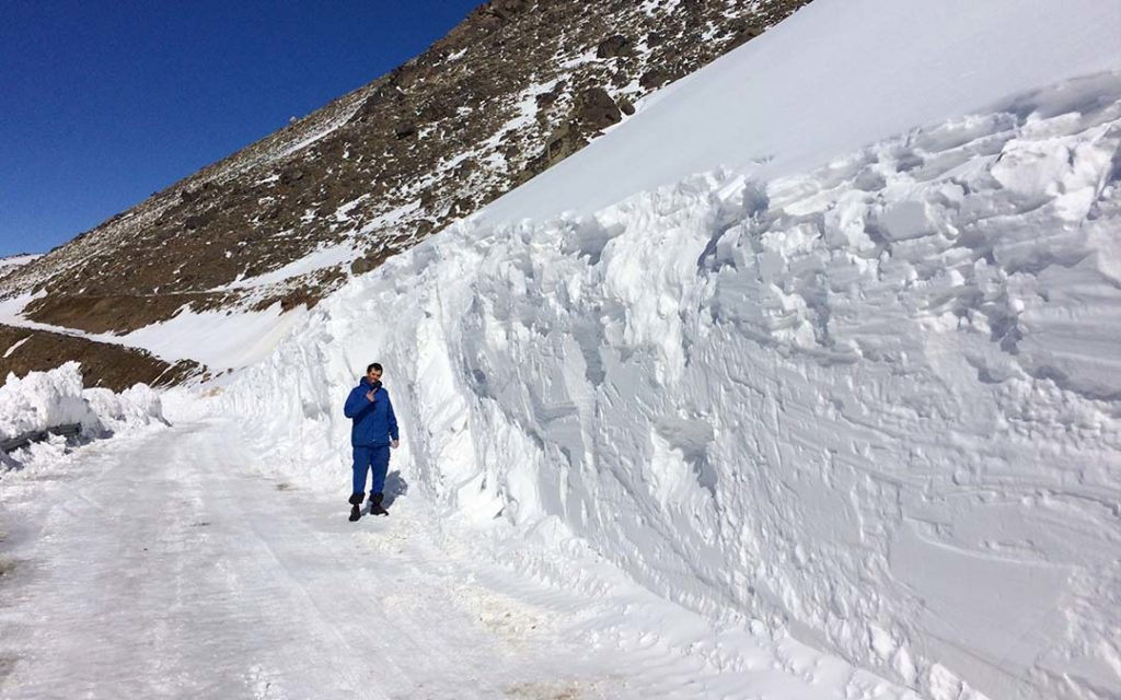 Snow wall near tarik dareh ski resort in Iran