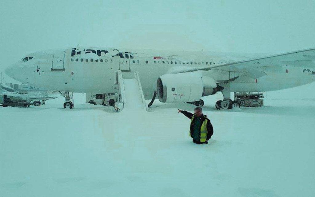 Neige à l'aéroport de Téhéran Janvier 2018